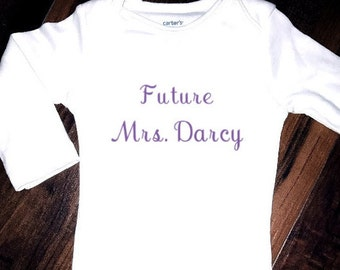 Future Mrs. Darcy Pride and Prejudice Baby Onesie bodysuit toddler tshirt