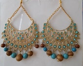 Gold Tone Chandelier Chain Earrings with Turquoise Color and Brown Beads  Dangules