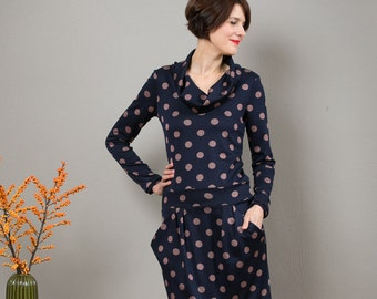 "Dress ""Berlin Calling"", in blue with dots"