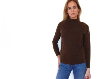 70s brown mock neck turtleneck 1970s mod top womens dark brown mock neck stretchy fitted top mid century baseball long sleeve brady bunch M