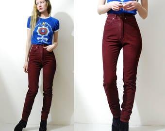 70s Vintage CORDUROY Jeans LEE Maroon Highwaisted Velvet Western Burgundy Red Skinny Leg Tight Bohemian Rocker Pants 1970s vtg XXS