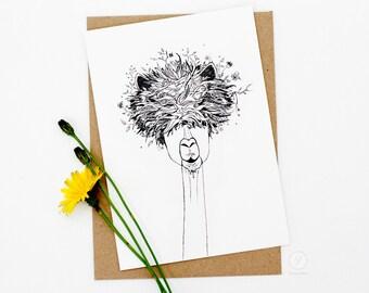 Llama Card / Lama card / Alpaca Card / Animal Illustration Card / A6 Greeting Card