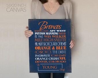 Personalized Denver Broncos Print or Canvas. Broncos gift for him. Denver Broncos Artwork. housewarming gift for couple