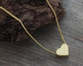 Delicate necklace, Gold Heart Necklace, Small gold Heart Necklace, Heart Jewellery, Simple Necklace. Heart Jewelry.