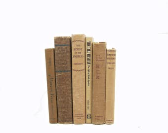 Soft Copper Books, Book Set, rustic Old Books, Shabby Chic Decorative Books, Brown Book Collection, Book Decor, Instant Library country chic