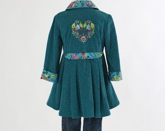 Girls Easter Jacket, Size 5 Embroidered Floral Rustic Heart Teal Blue Corduroy Boutique Spring Coat OOAK Jacket Back To School Ready To Ship