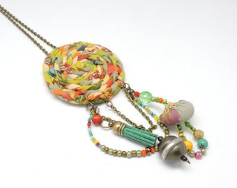 Boho Necklace, Hippie Style, Festival Jewelry, Fabric Necklace, OOAK Colorful Charm Necklace, Bohemian Dreamcatcher Necklace, Tribal Jewelry