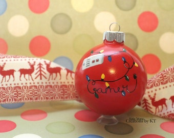 Gamer Glass Ornament MADE TO ORDER Hand Painted Christmas Lights Old School Bauble Game Gift Gamer Gift Gamer Decor