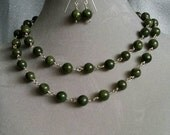 "Jade green beads, silver filled wire wrap 34"" long necklace & earrings set, sterling earwires (#1426)"