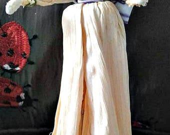 Vintage Handmade Corn Husk Doll Prairie Girl