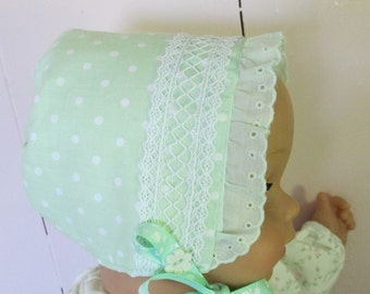 Pastel green polka dot baby bonnet in 4 sizes. each OOAK, NB through toddler, lacey summer caps for baby girls