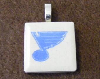 St Louis Blues - Laser engraved Ceramic Tile Pendant