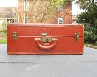 Large Leather Suitcase Dresner Luggage Red Brown Top Grain Cowhide Made in Chicago With Key Stacking Wedding Card Holder