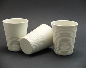 Moder porcelain mug, contemporary ceramics, modern mug, White ripped porcelain mug, ripped mug, coffee mug