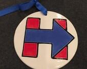 Handmade Ceramic Hillary Ornament