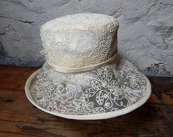 Vintage Kokin Hat Dressy Hat Garden Party Hat Summer Hat Ladies Hat Wide Brim Hat.