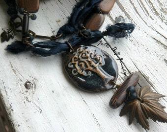 Patina Maple Leaf- artisan ceriamic tree pendant. vintage brass leaf. petrol sari silk. deep blue. rustic woodland necklace. Jettabugjewelry