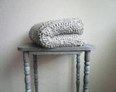 Crochet Blanket - Super Soft - Handmade - Silver Grey Throw Blanket