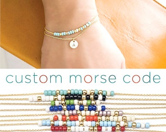 2 Layer Custom Morse Code Initial Charm Bracelet, Gold / Silver, 10 Color Option, Bridesmaid Wedding Girlfriend Gift, Bohemian boho MC ij wj