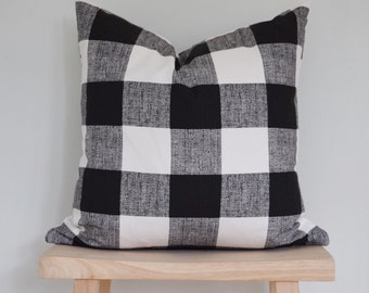 Black and white buffalo check pillow cover