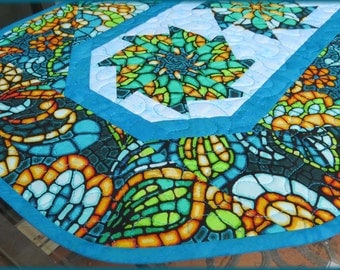 Quilted Table Runner Quilt Art Glass Turquoise 619