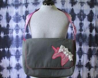 Unicorn Messenger Bag- Gray Messenger Bag- Pink Unicorn Bag- Gray and Pink Bag- Unicorn Purse- Unicorn Bag-  Messenger Bag- One of a Kind