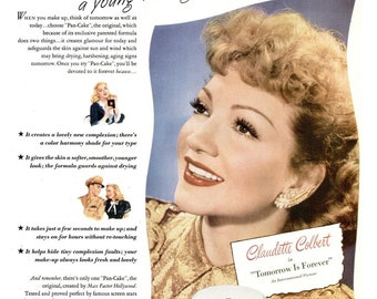 1945 Claudette Colbert Max Factor Hollywood Pan Cake Makeup Beauty Ad Tomorrow is Forever Movie Poster Celebrity Film Star Glamour Decor Art