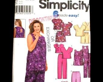 Womens Wardrobe Pattern Plus Size 18 20 22 24 W Simplicity 9772 Top Pull On Shorts Pants Sleeveless Elastic High Waist Summer Keyhole UNCUT