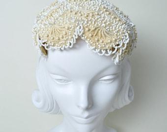 Vintage 1950s Wedding Hat 50s Beaded Bridal Cream Fascinator