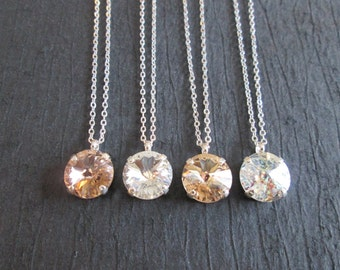 SET OF 3,4,5 6 Swarovski Crystal Necklace/Bridesmaid Necklace/Crystal Bridesmaid Jewelry/Swarovski Rivoli Necklace/Bridal Wedding Necklace