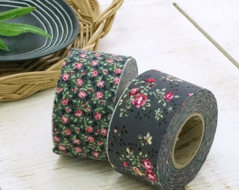 4 cm Madeleine Floral Cotton Bias Tape in Charcoal - 2 Styles 10 yards by the Roll 96348