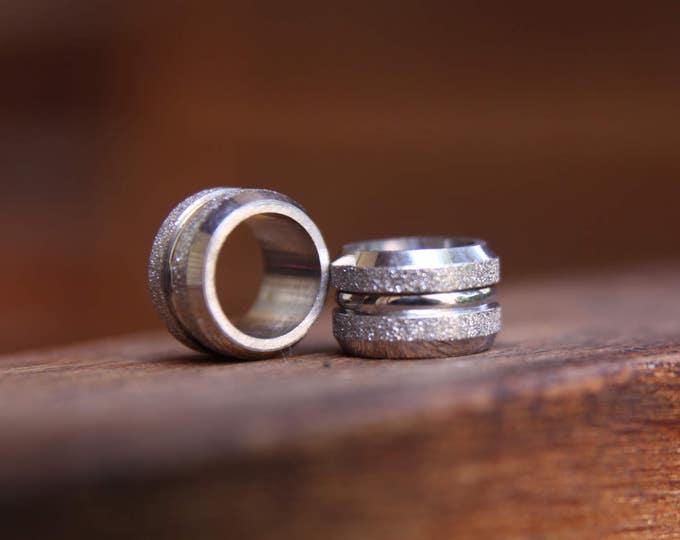 2 Stainless Steel 8mm 5/16' Hole Glitter Dreadlock Beads