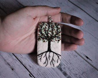 Tree of Life Pendant - hand embroidered ivory ecofelt with Apple tree