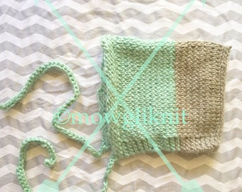 Mint Two-Toned Knitted Pixie Baby Bonnet, gray, two colors, baby boy, gender neutral, baby shower gift, hipster baby