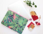 Floral laptop sleeve /case for 13'' to 16,5''-  Choose your size - protective pc sleeve with foam lining - Bright palm print- Ready to Ship