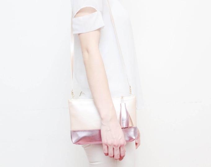 CASUAL / Metallic leather cross body purse-shoulder bag-simple minimalist bag-rose gold metallic bag-pink blush metal-Ready to Ship