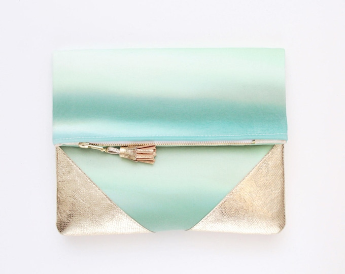 Reserved for Hane / PALOMA 2 / Leather clutch purse-dyed cotton bag-fold over purse-hand colored bag-watercolor fabric-leather tassel-green
