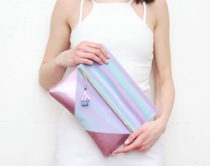 PALOMA 6 / Leather clutch purse-dyed cotton bag-fold over purse-hand colored bag-watercolor fabric-leather tassel-pink blue- Ready to Ship