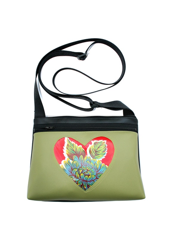 Red, floral oil cloth, heart, avocado green, boxy cross body, vegan leather, zipper top