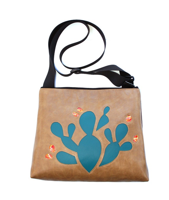 Cactus, blue, tan vinyl, vegan, vegan leather, large, cross body bag