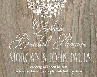 Ornament Bridal Shower invitation /  Christmas ornament design / Printable PDF / JPG /  Print at Home/ Rustic