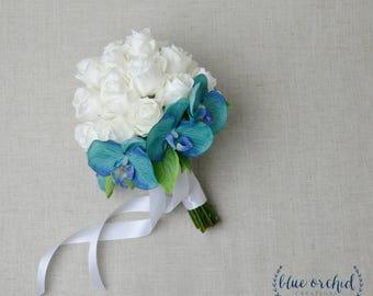 Tropical Bouquet, Wedding Bouquet, Bridal Bouquet, Orchid Bouquet, Destination Wedding Bouquet, Wedding Flowers, White, Blue, Teal, Orchid