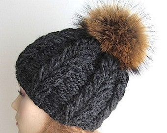 Raccoon Fur PomPom Charcoal Grey Wool Hat Cap Skull fall winter Hand Made Accessory