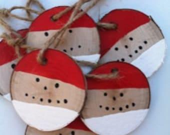 8 piece Ornament Set,Santa Face,Wood Disc