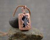 Amethyst Necklace Electroformed Copper Gemstone Pendant February Birthstone Modern Minimalist Jewelry Rustic Unisex Gemstone Mens Jewelry