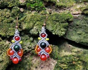 Macrame beaded earrings grey orange
