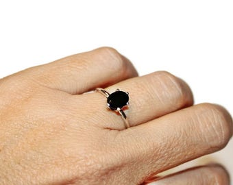 Black Onyx Ring, Sterling Silver Ring With Black Stone, Oval Onyx Ring