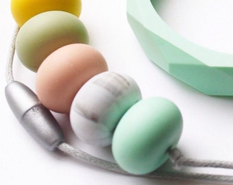 Childs Chewlery Necklace. Pick your own beads silicone chewable beads sensory necklace, fiddle necklace by Mustard & Mint