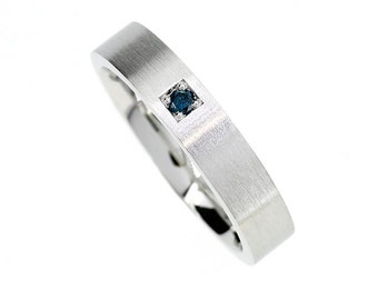 Size 6.25 to 6.5, teal diamond wedding band made from palladium, matte ring, modern engagement ring, blue diamond, contemporary