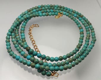 """Turquoise Necklace, Long Turquoise Necklace, Single Double Strand Necklace, Necklace in PHOTO is 50"""" Long"""